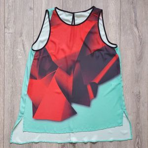Clover Canyon graphic high low tank top sz Small